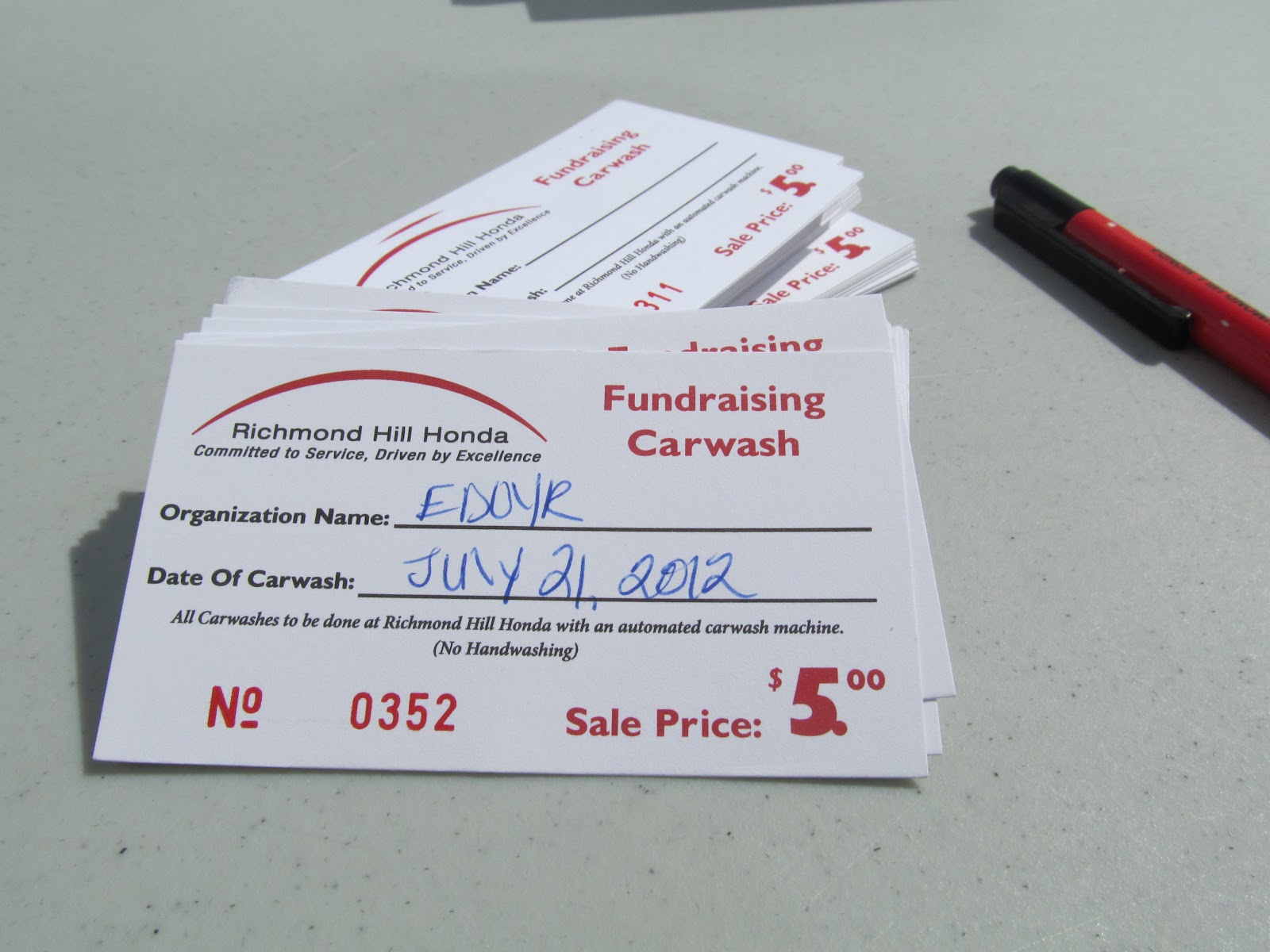 Car wash tickets! We have some nonexpiry tickets left over for your ...