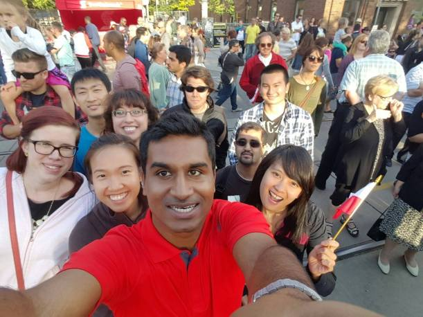 Riverwalk's Natalie and her friends walk in downtown Toronto at the Polish festival